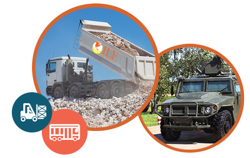 Dump trucks for construction industry; transportation management for the military